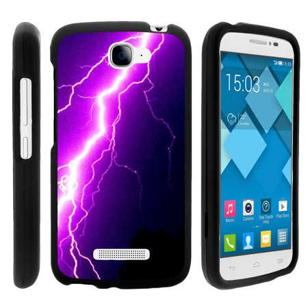 Purple Lightning Bolt (Alcatel Fierce 2, Pop Icon, 7040T, and A564C, [SNAP SHELL][Matte Black] 2 Piece Snap On Rubberized Hard Plastic Cell Phone Case with Exclusive Art - Purple Lightning)