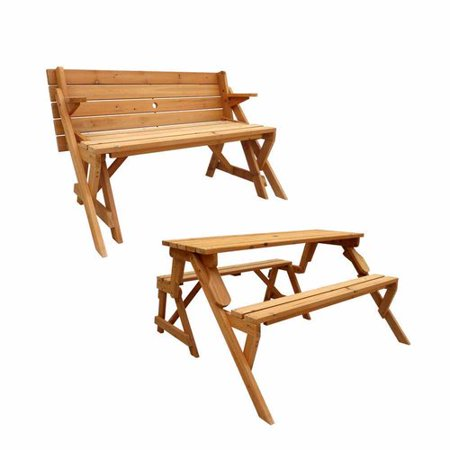Leisure Season Convertible Picnic Table And Garden Bench Medium Brown