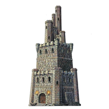 Club Pack of 12 Medieval Jointed Castle Tower Halloween Hanging Decorations 4' - 100 Floors Halloween Tower Level 1
