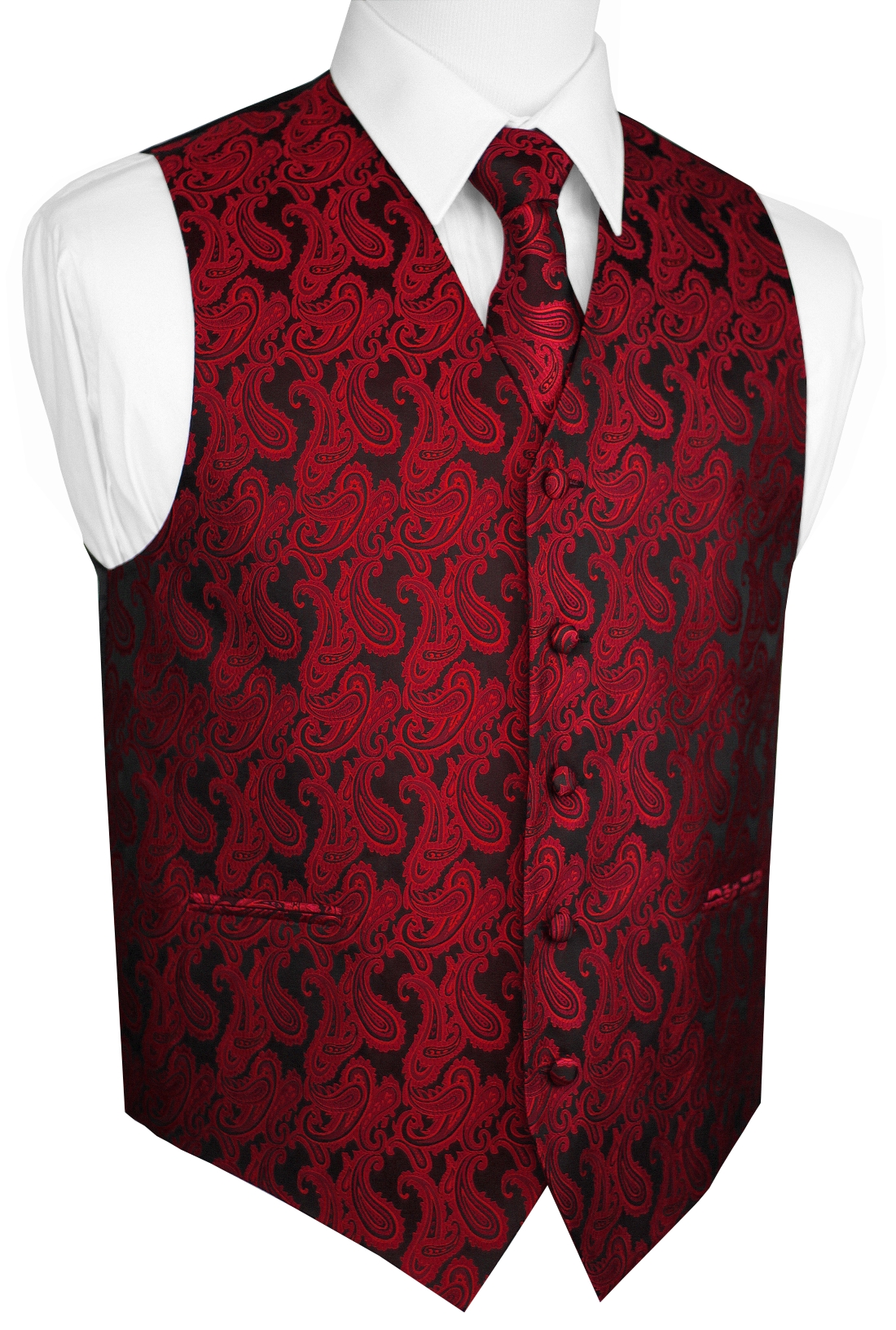 Italian Design, Men's Tuxedo Vest, Tie & Hankie Set - Apple Paisley