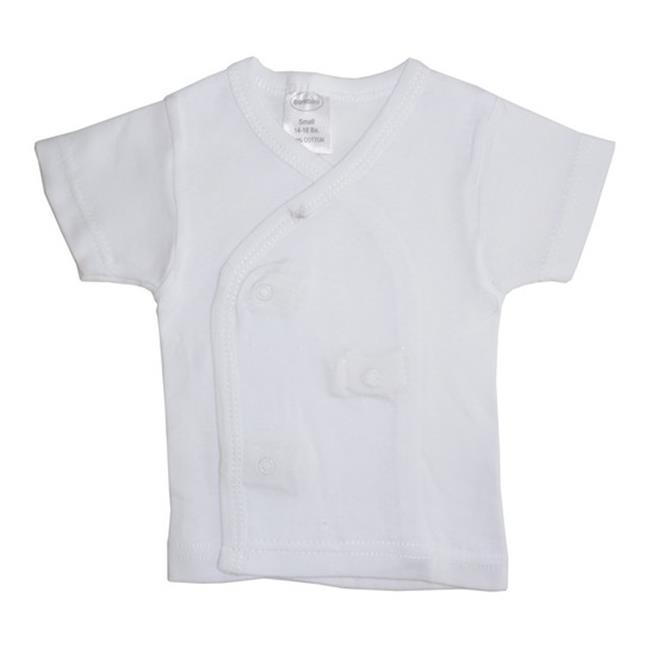 Bambini 075B S Rib Knit White Short Sleeve Side-Snap Shirt, Small