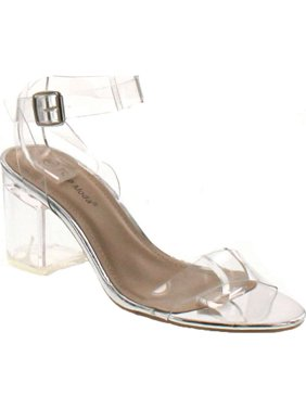 d5a47b476364 Product Image Top Moda Womens Ivan-1 Lucite Clear Strappy Block Chunky High  Heel Open Peep Toe