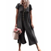 Women's Loose Casual Wide Leg Cropped Jumpsuits Pants Rompers