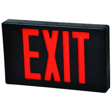- LED Exit Sign Red LED Black Housing Battery Backup Remote Capable