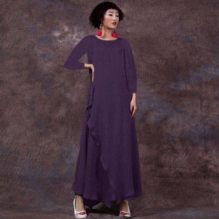 Celmia Plus Size Women Long Maxi Dresses Cotton Linen Layered Flare