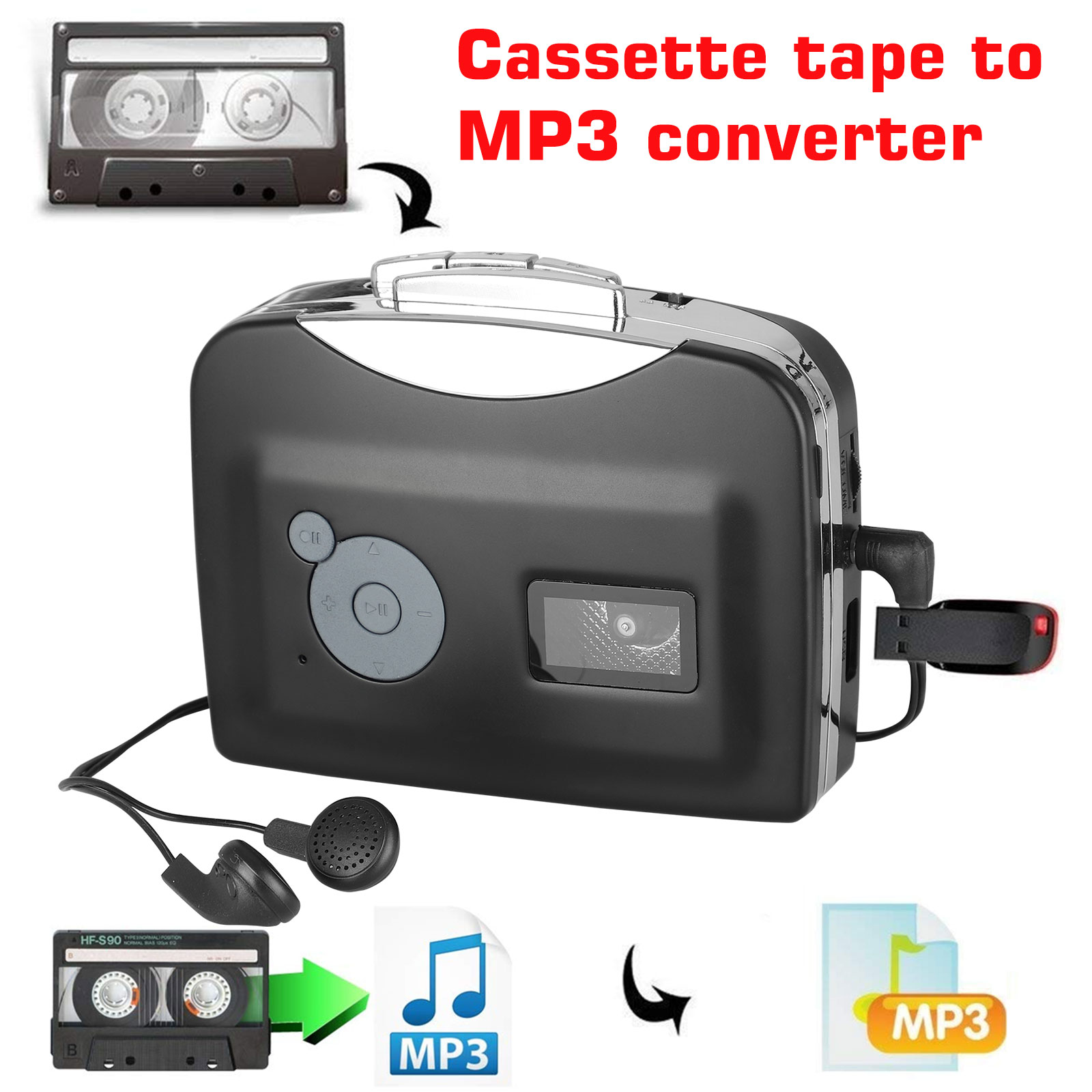 Portable Walkman Audio Music Player Cassette-to-MP3 Converter with Earphones USB Cassette Player Tape to MP3 Converter No PC Required