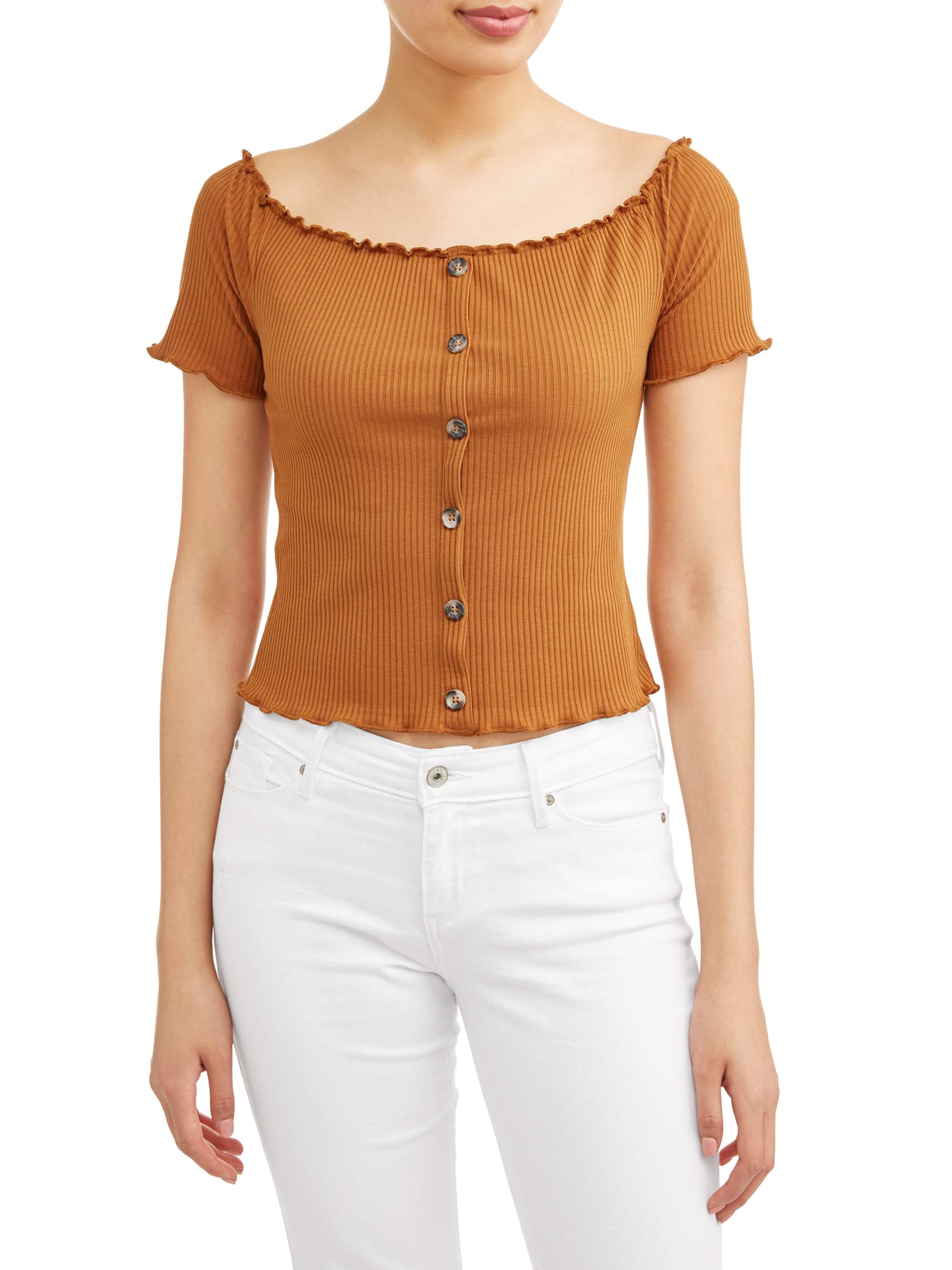 Juniors' Button Front Off the Shoulder Rib Knit Top
