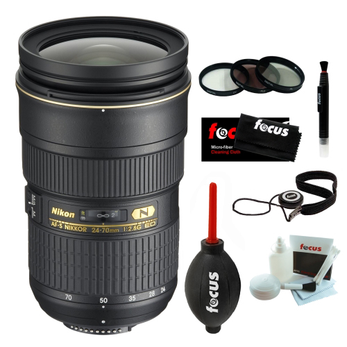 Nikon 24-70/2.8G ED AF-S Nikkor Wide Angle Zoom Lens Accessory Bundle With 3 Year Extended Warranty