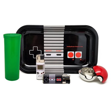 Home Depot Molding - Bundle - 5 Items - Rolling Paper Depot Controller Rolling Tray with Ball Grinder, Leaf Lock Video Game Lighters and Green