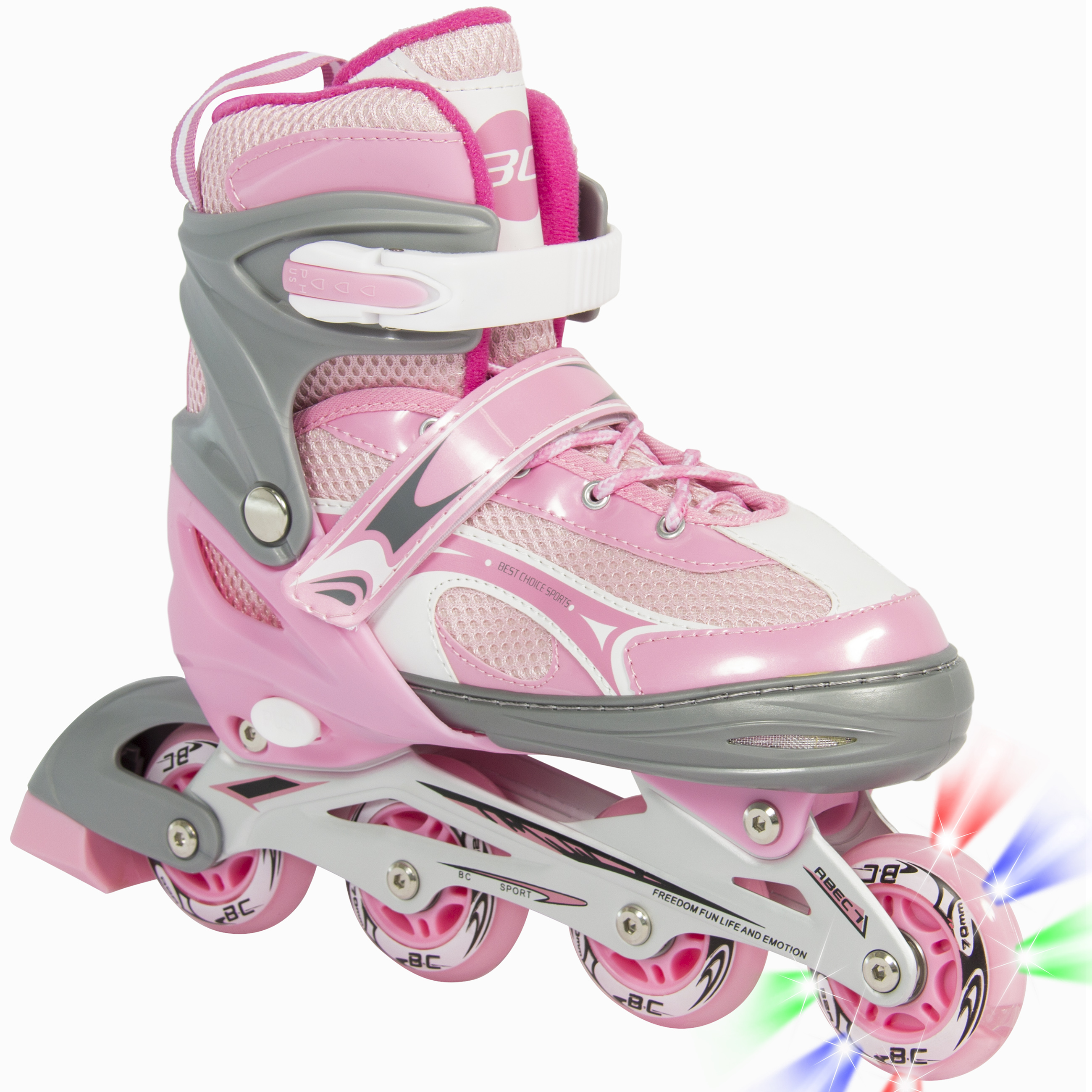 BCP Adjustable Kid Inline Skates Roller Blades Outdoor Sport w/ Light Wheel Pink