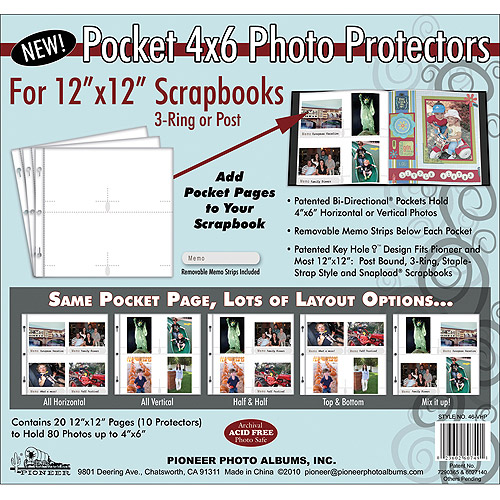 Pioneer Scrapbook Refill Page 12x12 5pc 4x6 Pocket