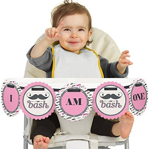Pink Mustache Bash - 1st Birthday High Chair Banners