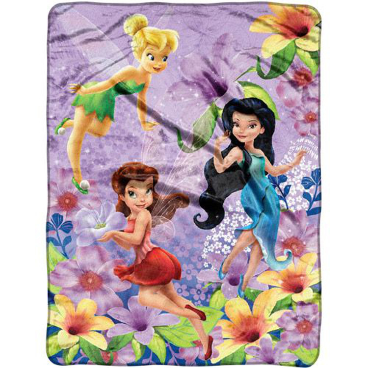 "Disney Fairies ""Spring Pixies"" Micro Raschel Throw Blanket"