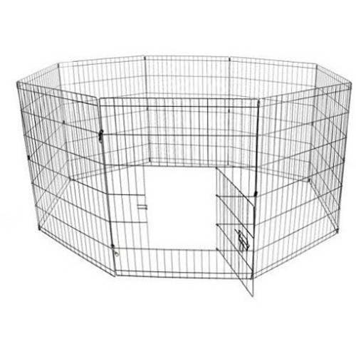 ALEKO SDK-42B Dog Playpen Pet Kennel Pen Exercise Cage Fence, 8-Panel
