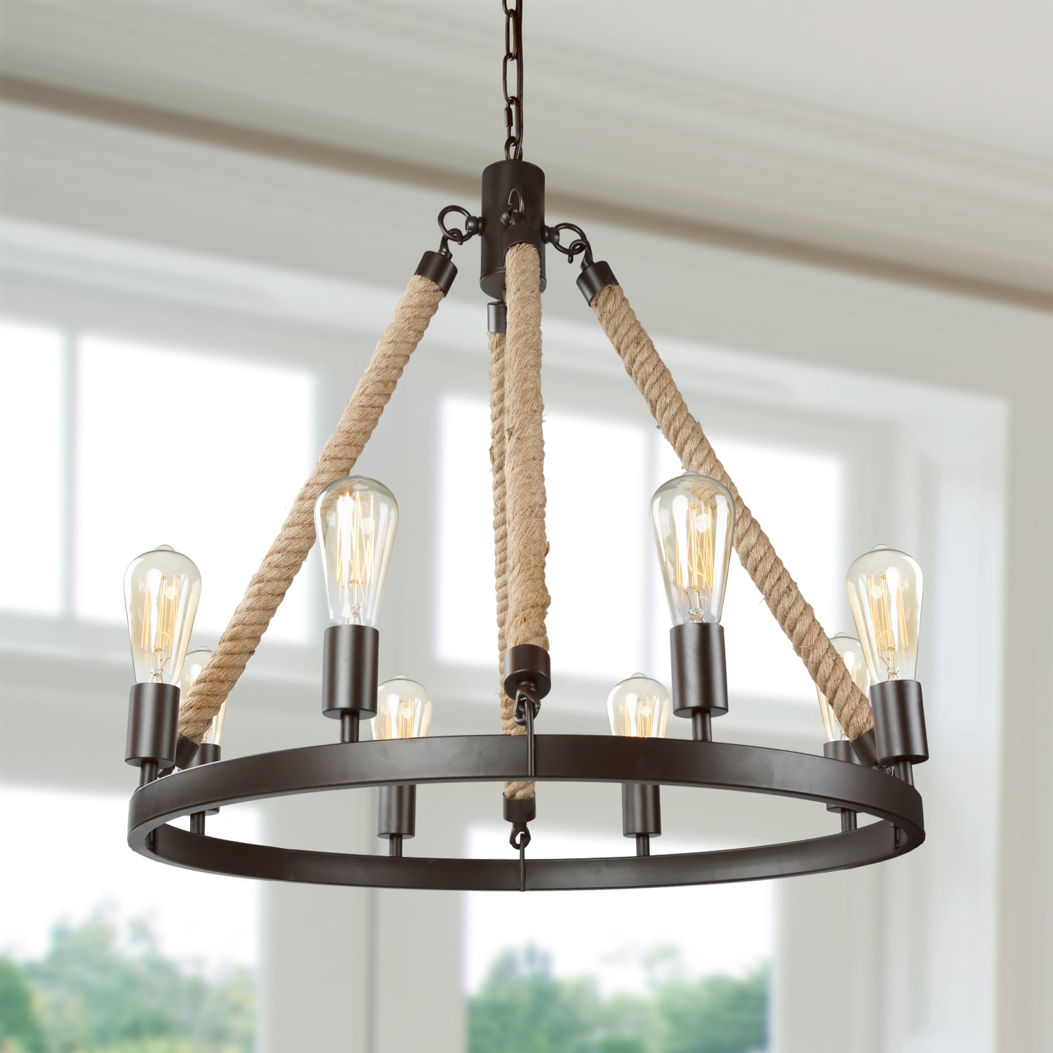 LNC Rustic Farmhouse Chandeliers For Dining Rooms Hanging