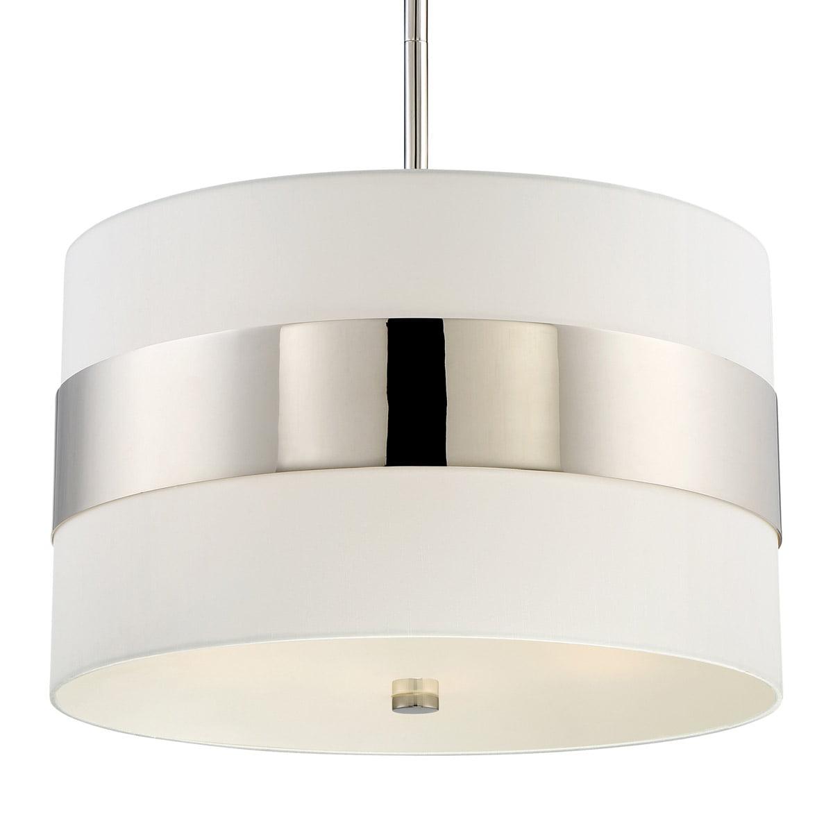 Crystorama 297-PN Grayson 5 Light 23 inch Polished Nickel Pendant Ceiling Light in Polished Nickel (PN) White Silk by Crystorama