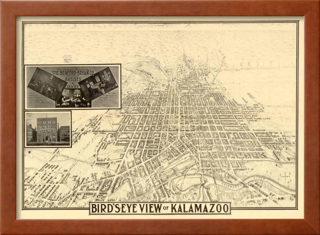 Kalamazoo, Michigan - Panoramic Map Framed Art Print Wall Art By ...