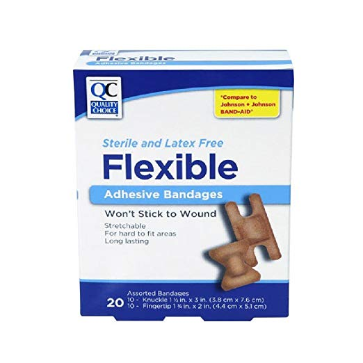 2 Pack Quality Choice Knuckle & Fingertip Flexible Bandages 20 Each