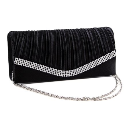 Chicastic Black Pleated Satin Wedding Evening Bridal Clutch Purse With (Chloe Clutch Purse)