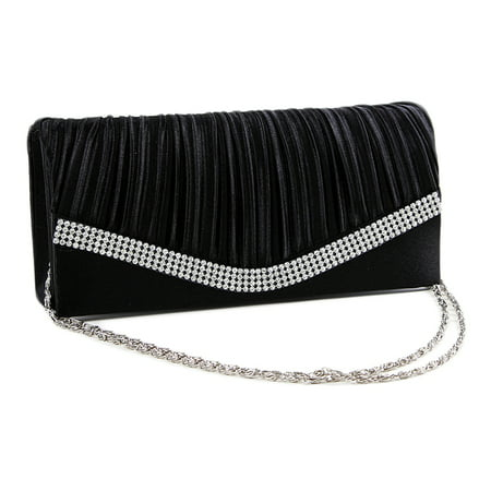 Evening Bag Bridal Clutch Purse (Chicastic Black Pleated Satin Wedding Evening Bridal Clutch Purse With Rhinestones )