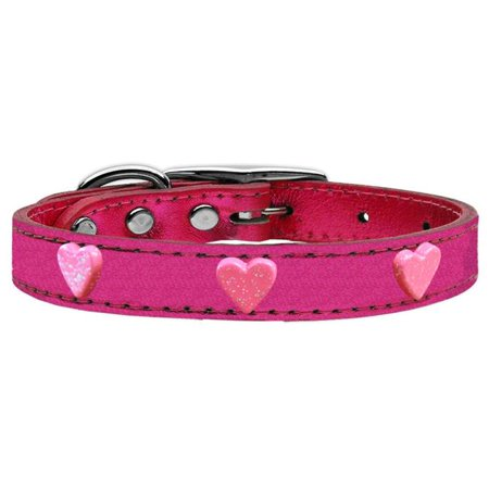 Mirage Pet 83-78 PkM12 Pink Glitter Heart Widget Genuine Metallic Leather Dog Collar - Pink, Size 12 Heart Dog Pet Collar Charm