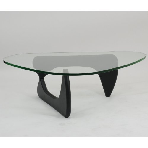 Modway Triangle Black Wood Glass Top Coffee Table
