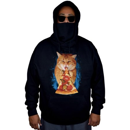 Men's Pizza Cat Black Mask Hoodie Sweater X-Large](Pizza Sweater)