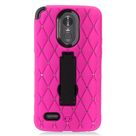LG Stylo 3 phone case, LG Stylo 3 Plus Case, by Insten Stand Rhinestone Diamond Bling Hard Plastic/Soft Silicone Case Cover For LG Stylo 3 LS777/K10 Pro/Stylus 3/Stylo 3 Plus