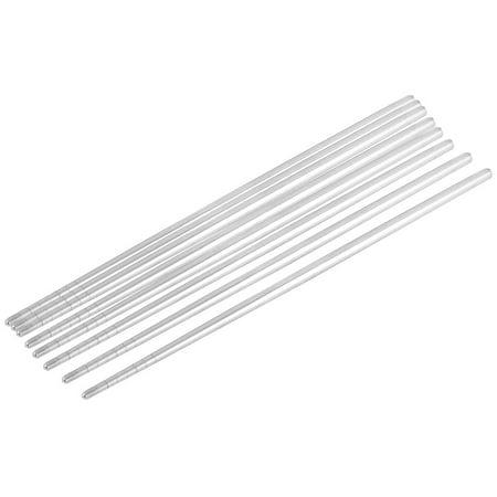Silver Leaf Chopsticks - Non-slip Design Stainless Steel Chop Sticks Chopsticks Silver Tone 4 Pairs