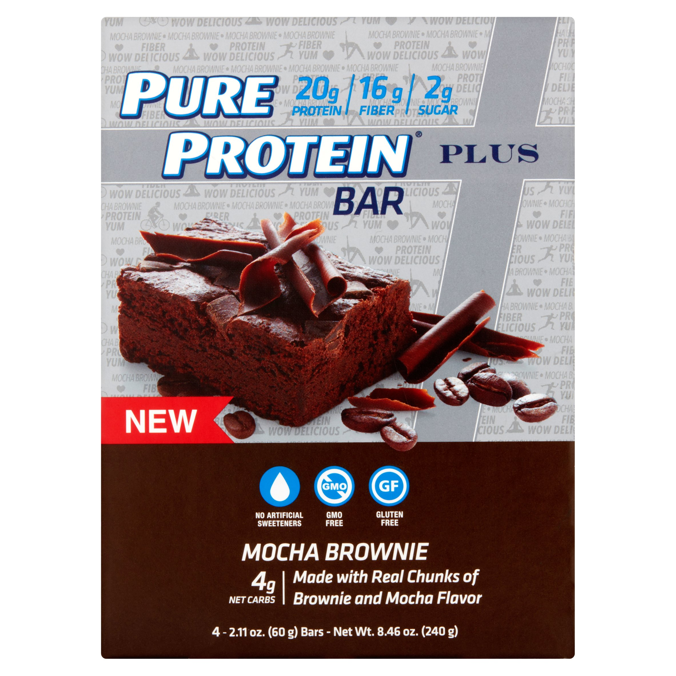 Pure Protein Bar, 20 Grams of Protein, Mocha Brownie, 2.11 Oz, 4 Ct