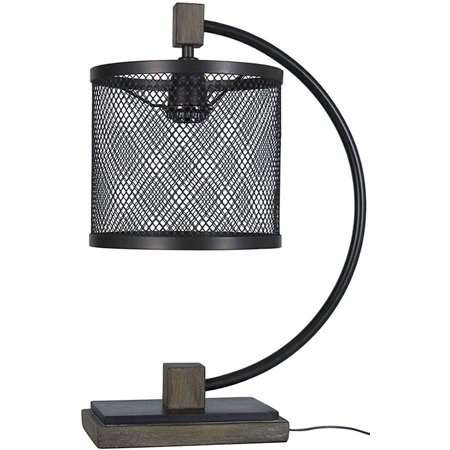 Better Homes and Gardens Metal Mesh Shade Table Lamp, Black and Walnut (Black Table Lamp Ivory Shade)