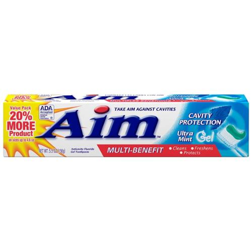 Aim Multi-Benefit Cavity Protection Gel Toothpaste, Ultra Mint 5.50 oz (Pack of 3)