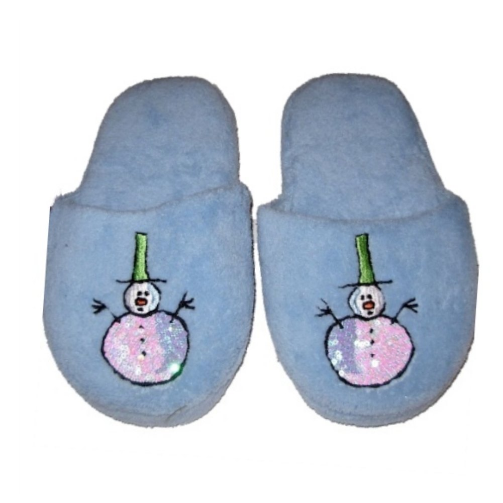 Holiday Womens Blue Sequin Snowman Slippers Slide On House Shoes S/M