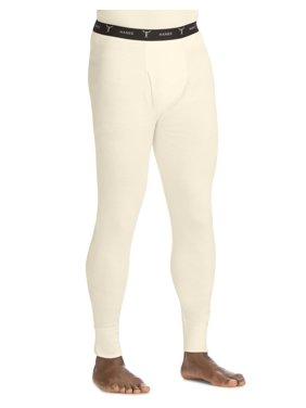 Hanes Mens Beefy Organic Cotton Thermal Pants, XL, Natural