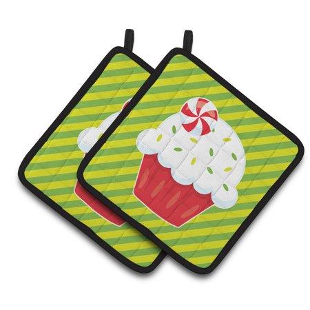 Caroline's Treasures Christmas Pepermint Cupcake Pair of Pot Holders