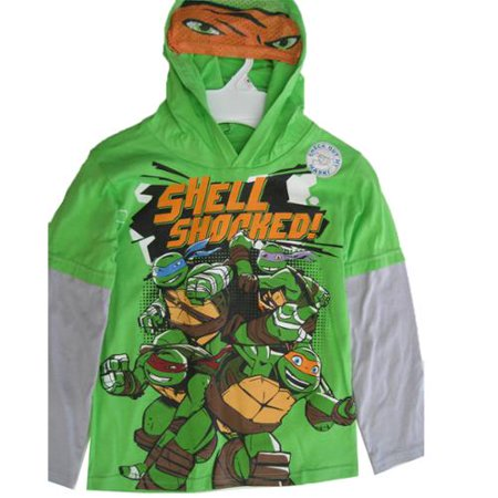 Little boys green gray ninja turtles hooded long sleeve t for Green turtle t shirts review