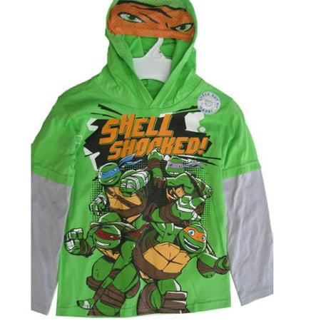 Little Boys Green Gray Ninja Turtles Hooded Long Sleeve T