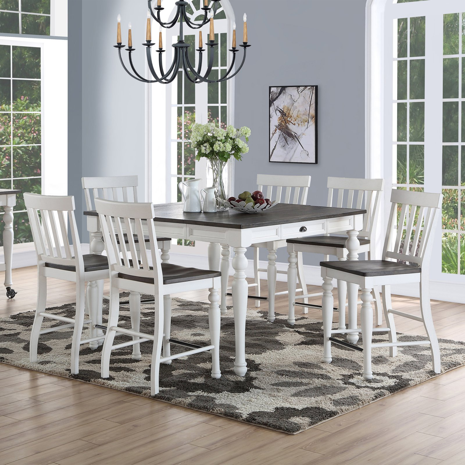Steve Silver Co. Joanna 7 Piece Transitional Counter Height Dining Set