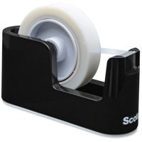 "Scotch Heavy Duty Weighted Desktop Tape Dispenser, 3"" core, Plastic, Black -MMMC24"