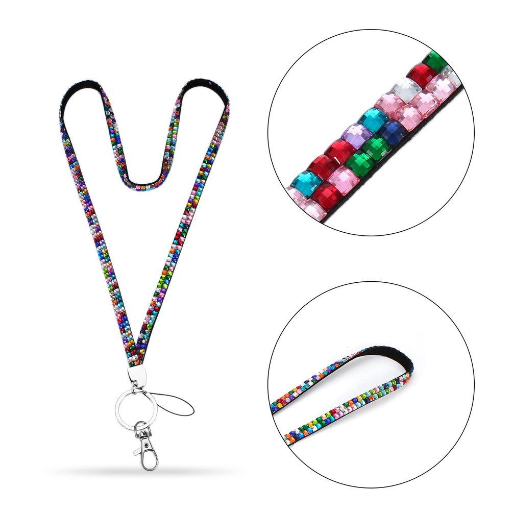 Rhinestone Crystal Bling Custom Lanyard & ID Badge Cellphone Key Holder Ring by