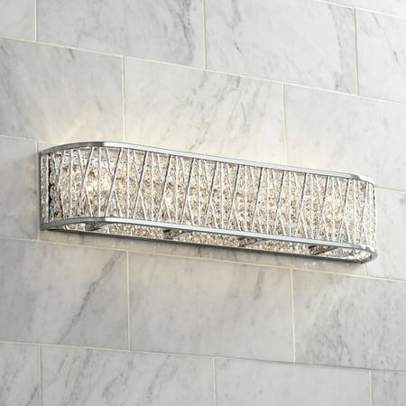 Possini Euro Design Woven Modern Wall Light Chrome Hardwired 24