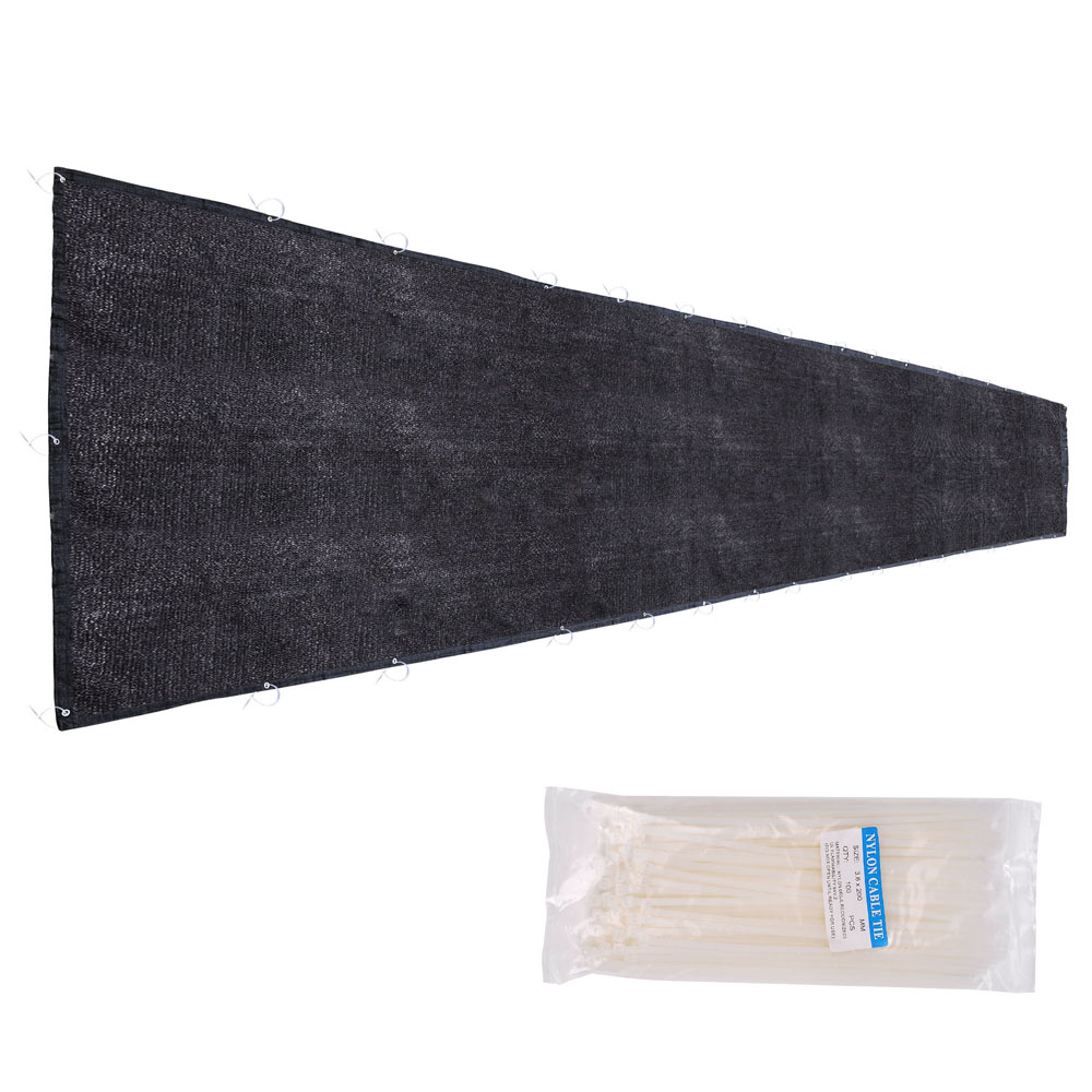 Yescom 25'x6' Privacy Fence Screen Fabric Mesh Netting Windscreen for Outdoor 6 ft Fencing Black