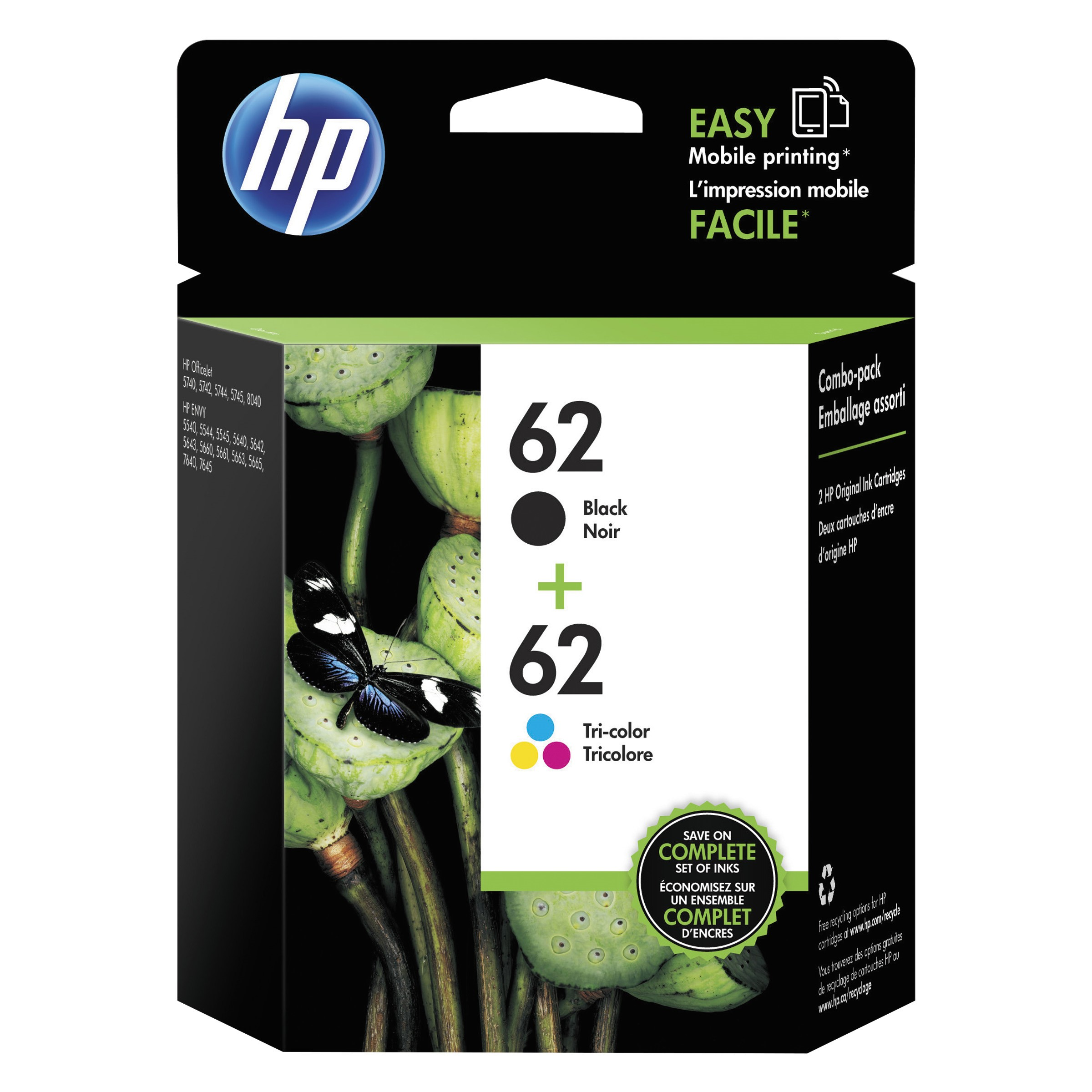 HP 62 Black & Tri-Color Original Ink Cartridges, 2-Pack (N9H64FN)
