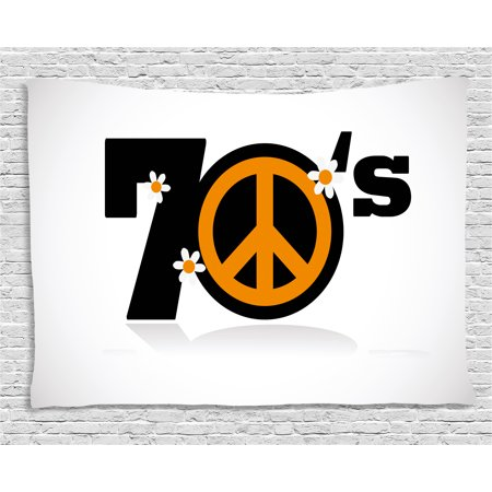 70s Party Decorations Tapestry, Seventies Peace Symbol with Daisies Rock n Roll Art Print, Wall Hanging for Bedroom Living Room Dorm Decor, 60W X 40L Inches, Black Marigold White, by Ambesonne (Rock N Roll Room Decor)