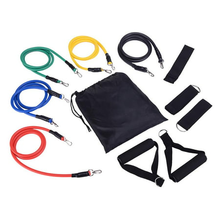 Elegantoss 11pcs Fitness Resistance Bands Set, Workout Tube Bands - with Door Anchor, Handles and Ankle Straps, Carrying Case - for Resistance Training, Physical Therapy, Home Workouts, Yoga, Pilates ()