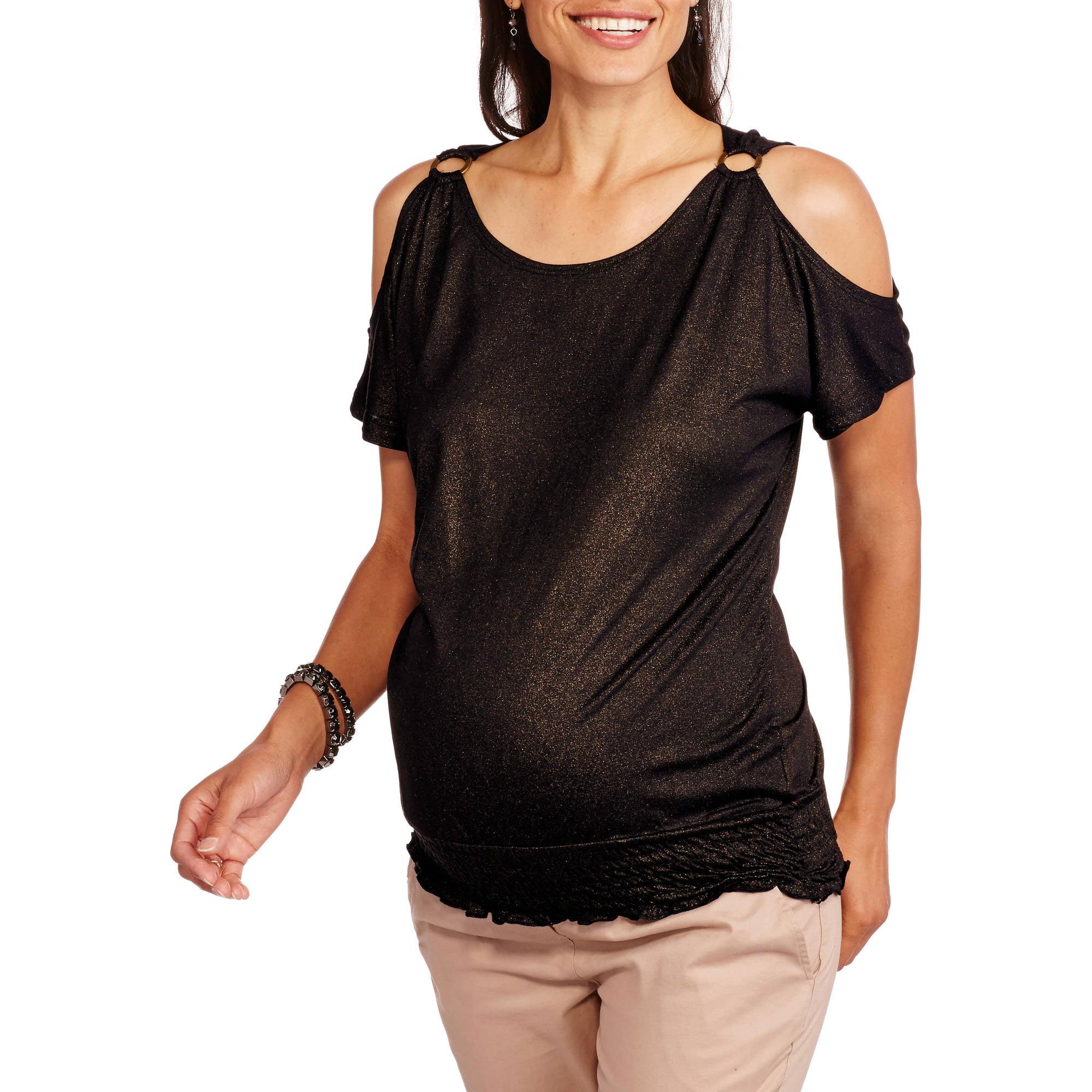 Inspire Maternity Cold Shoulder Top
