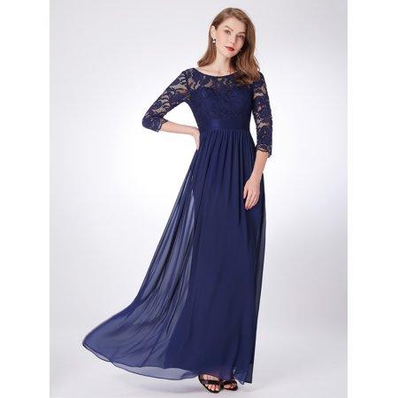Ever Pretty Womens Elegant A Line Long Lace Sleeve Plus Size