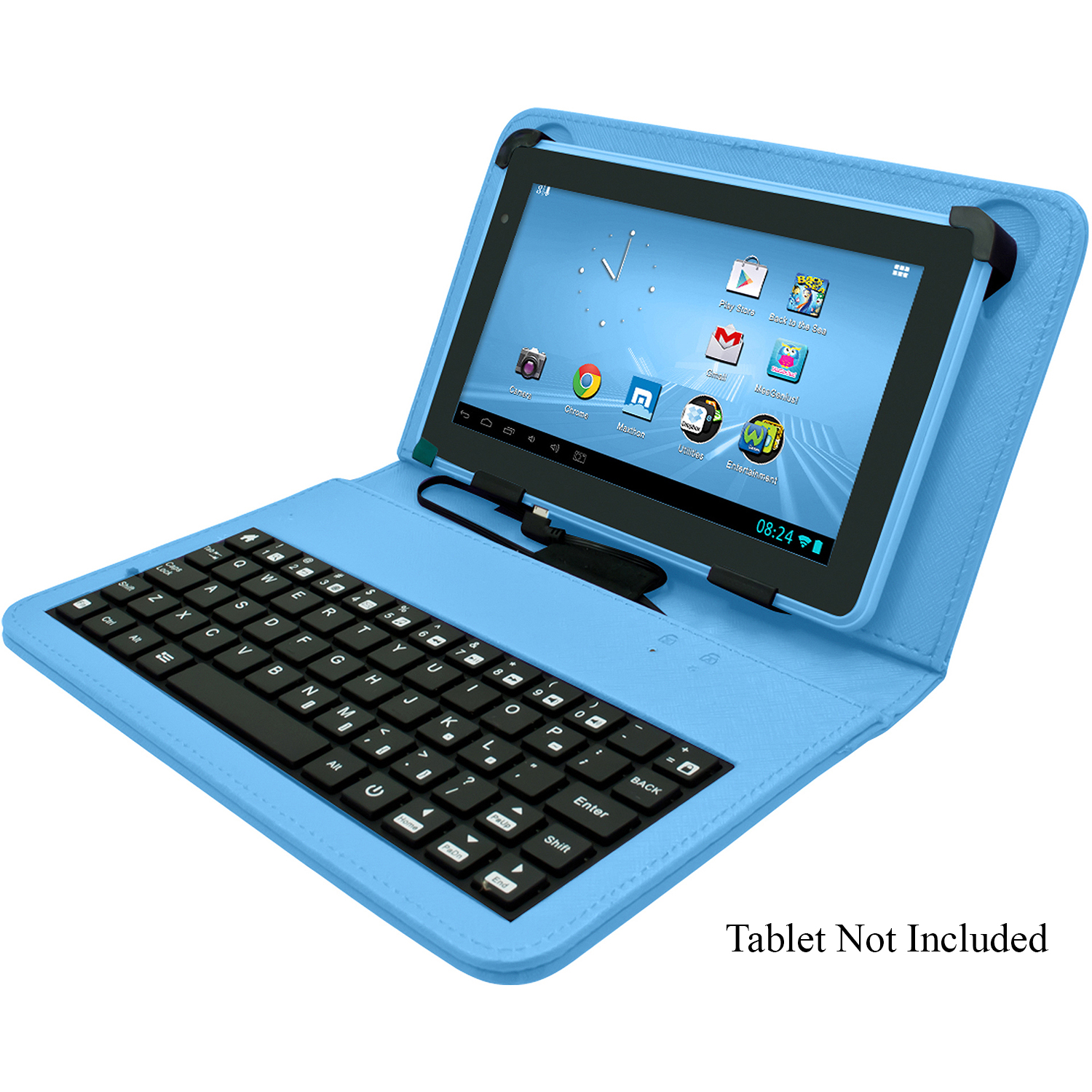 "Refurbished Digital2 ACK700A 7"" Tablet Leatherette Folio Case Cover w/microUSB Keyboard-Blue"