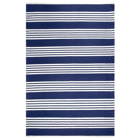 Blue And White Striped Rug (Fab Habitat  Indoor Outdoor Floor Mat Rug - Handwoven  Made from Recycled Plastic Bottles - Mariona Stripe Blue & White - 2' x 3' )