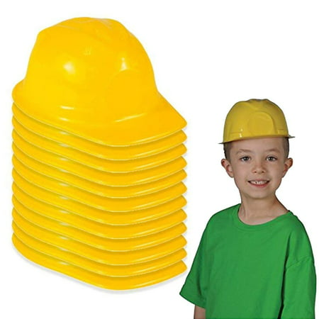 Construction Hat Toy -12 Pack Yellow, For Kids, Boys, Girls, Halloween, Themed Events, Props, Costume, & Dress Up – - Kids Halloween Dress Up